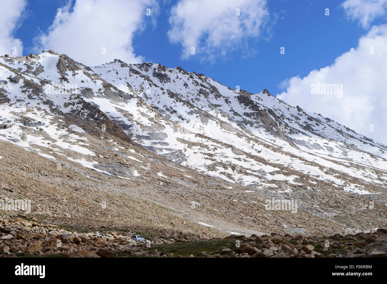 Snow Filled Himalayan Mountains in Ladakh India in the state of Jammu and Kashmir - Stock Image