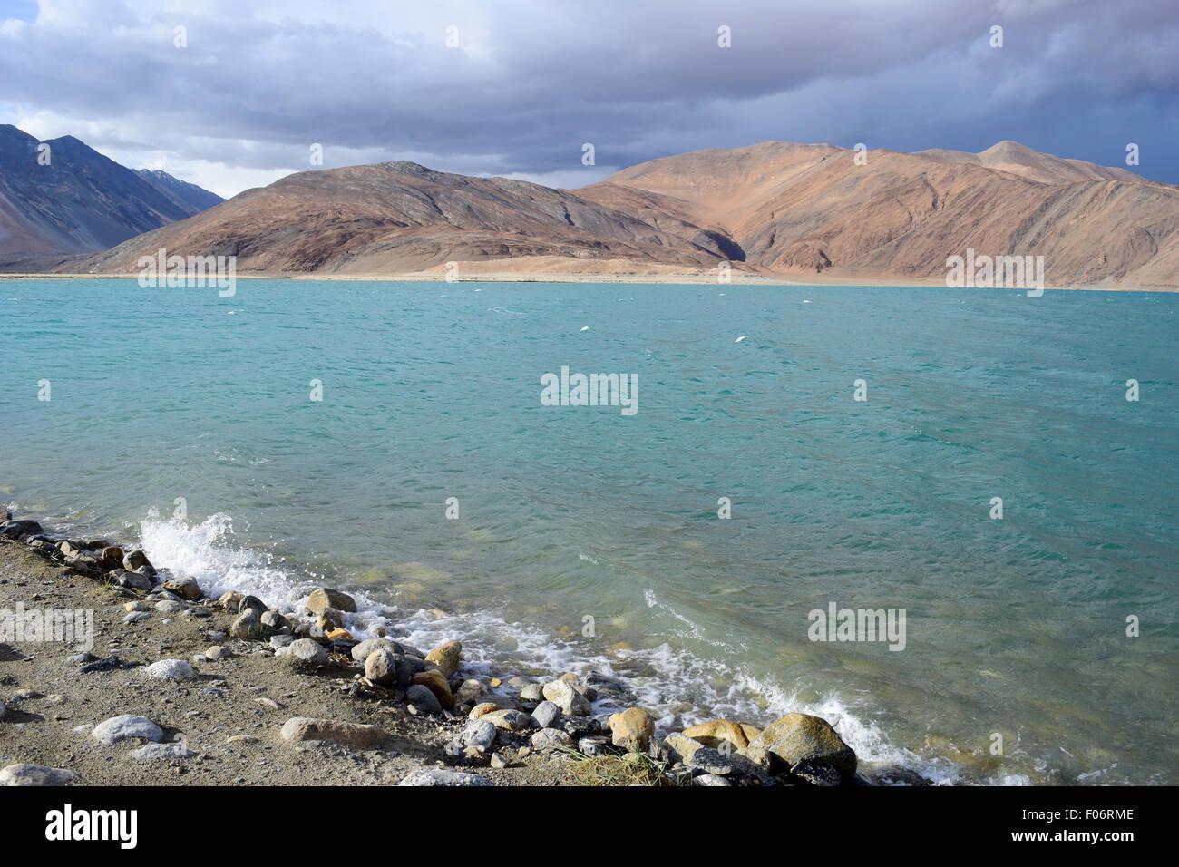 Pangong Tso Lake Ladakh India Beautiful Himalayas Mountains and Pangong Lake Stock Photo