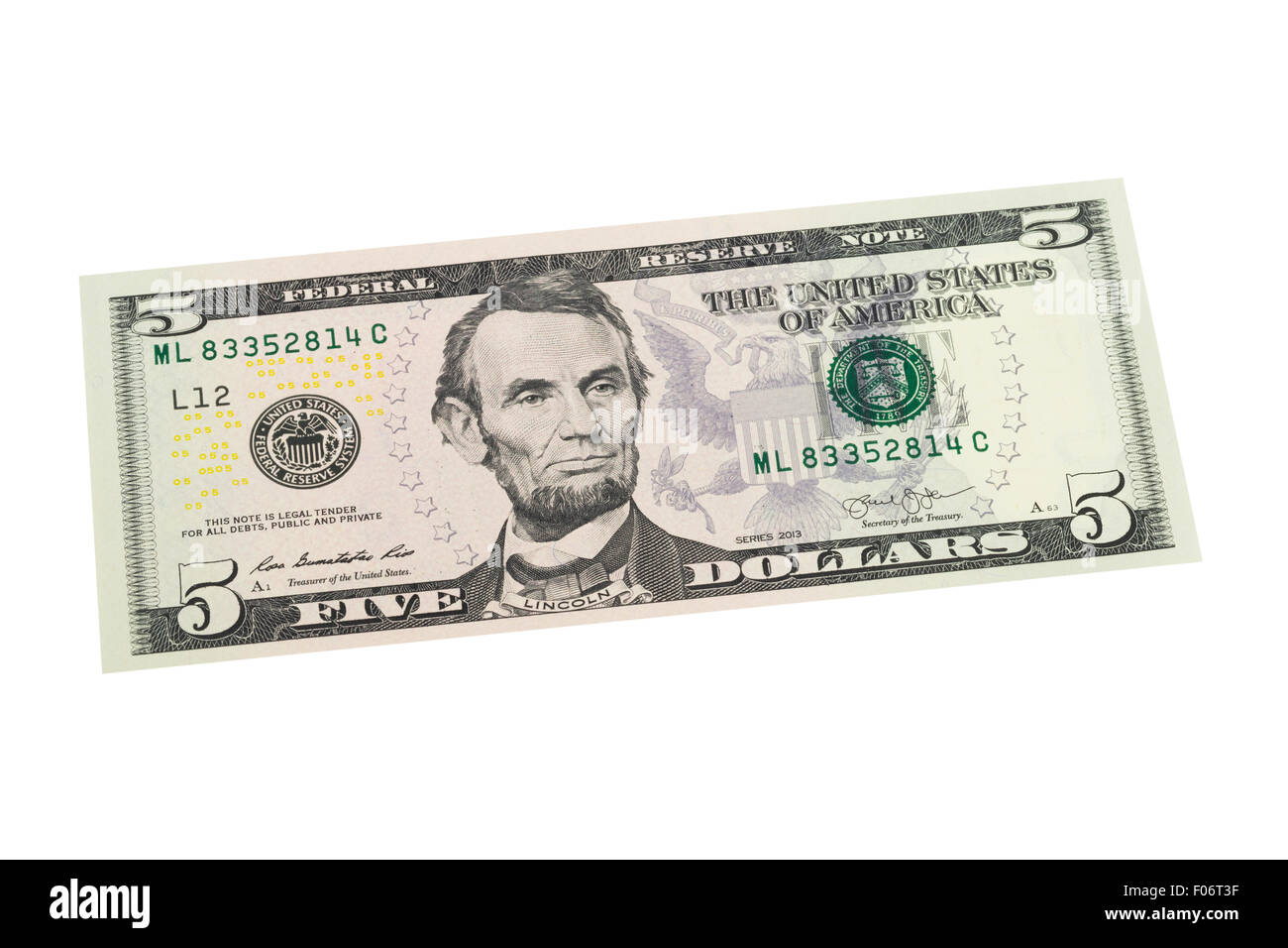 American five us dollar note on a white background - Stock Image