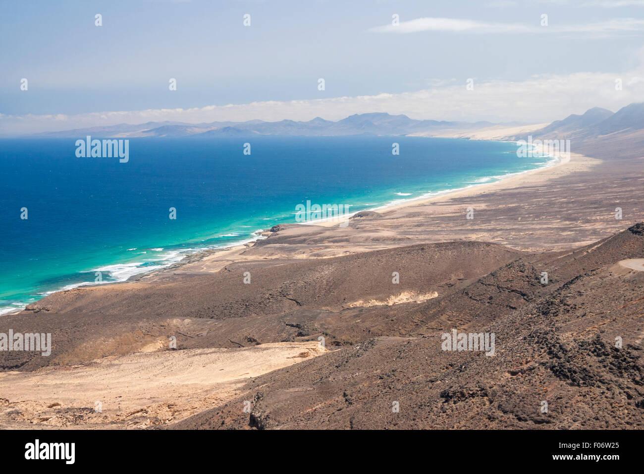 Cofete beach on the south west coast of Fuerteventura - Stock Image