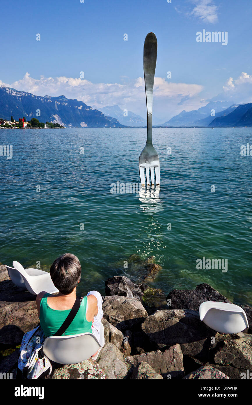 Swiss, Valais, Veuvey, the Fork by Jean-Pierre Zaugg. - Stock Image