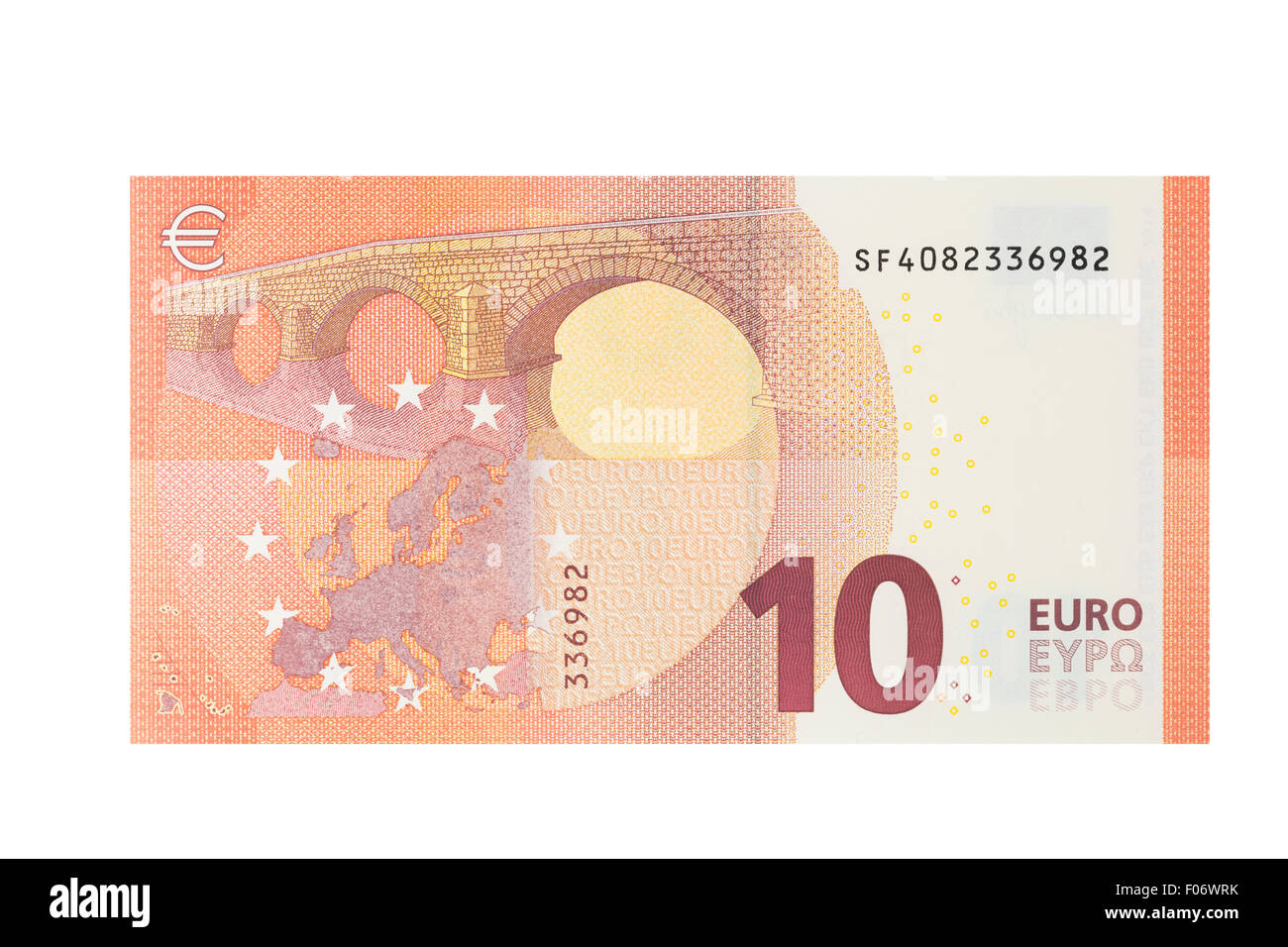 Ten Euro banknote on a white background - Stock Image