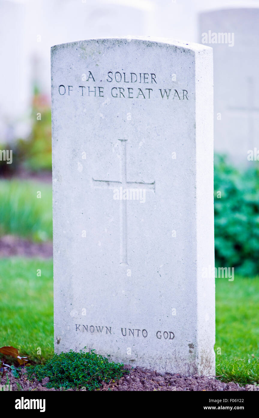 Unmarked gravestones at Tyne Cot Commonwealth War Graves Cemetery and Memorial in Belgium - Stock Image
