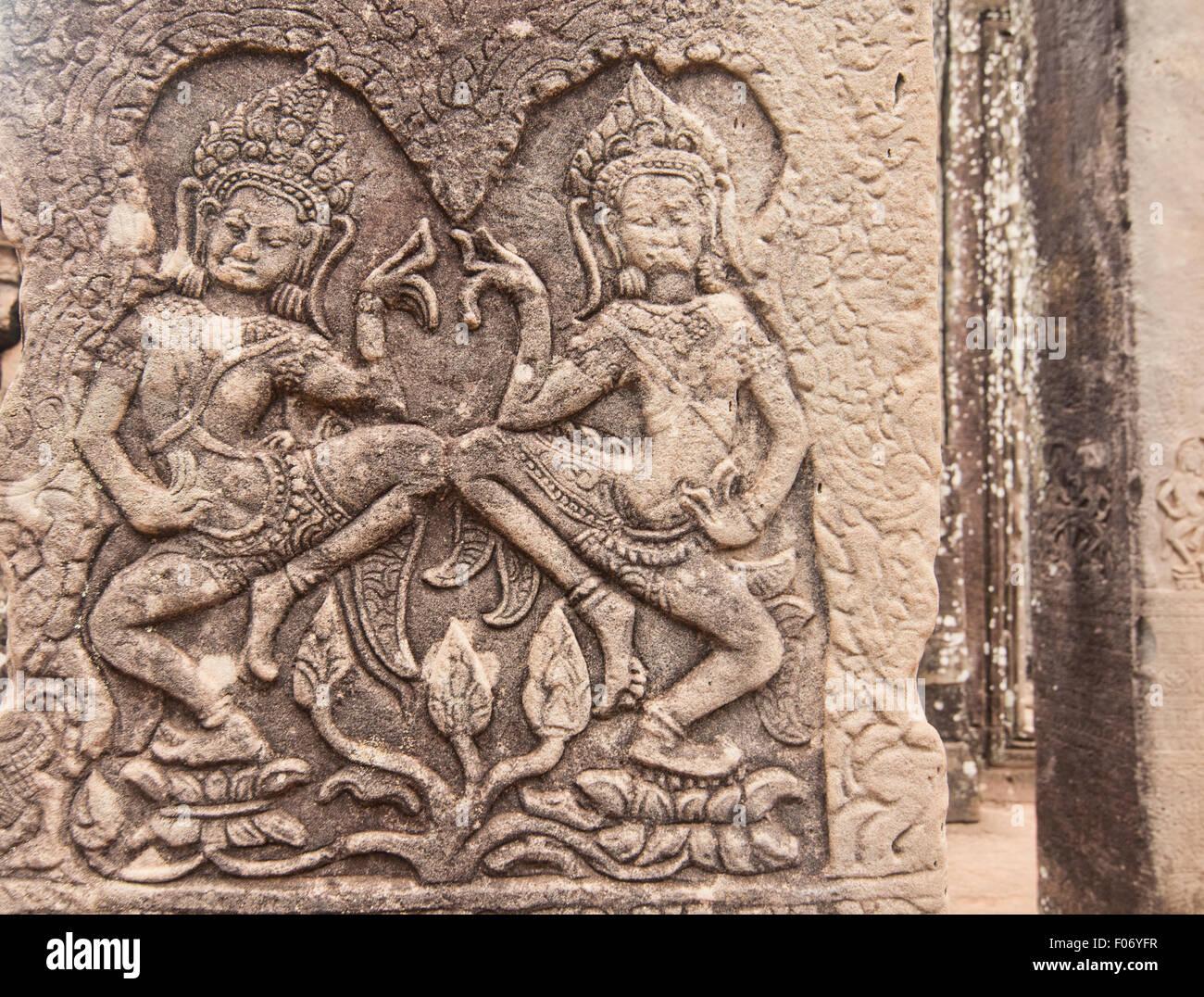 Khmer apsara stone carvings at angkor wat cambodia stock photo