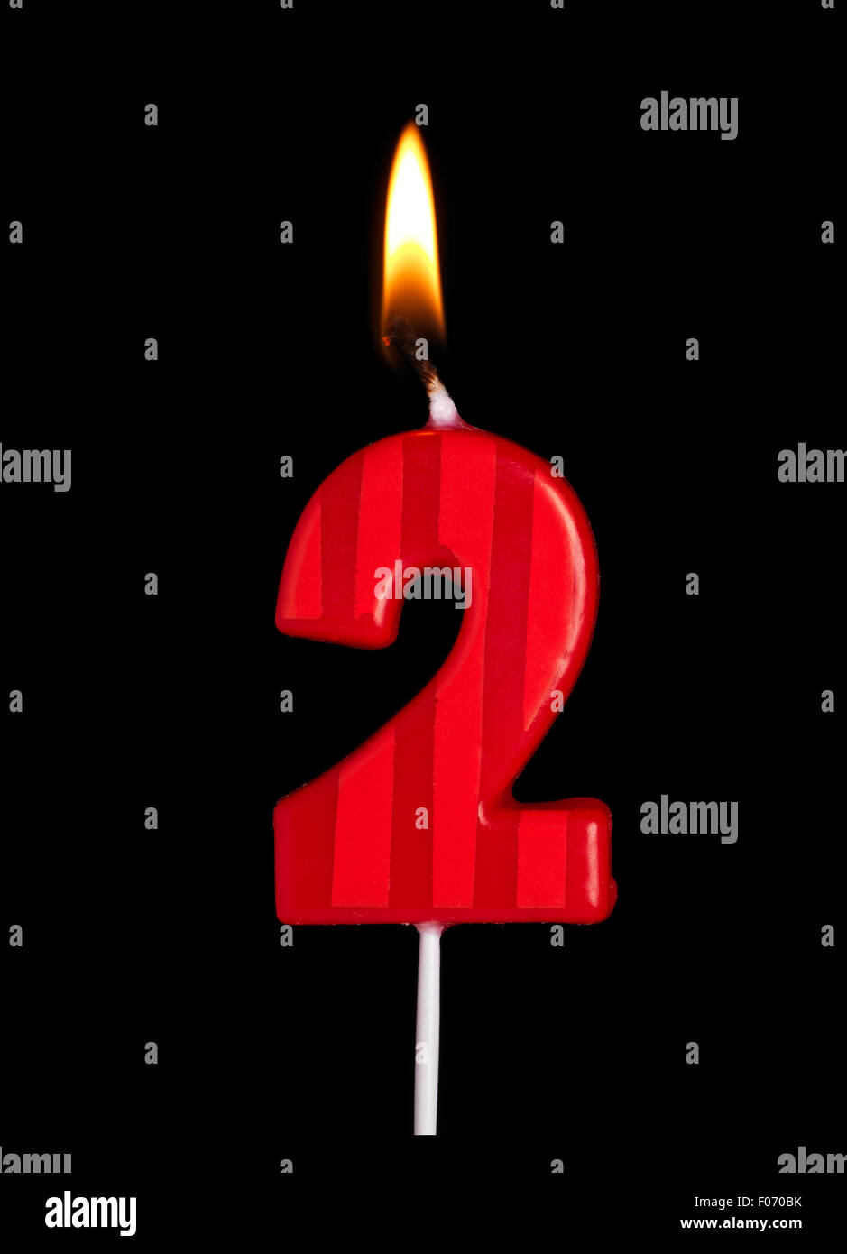 Birthday Candle Number 2 Stock Photos