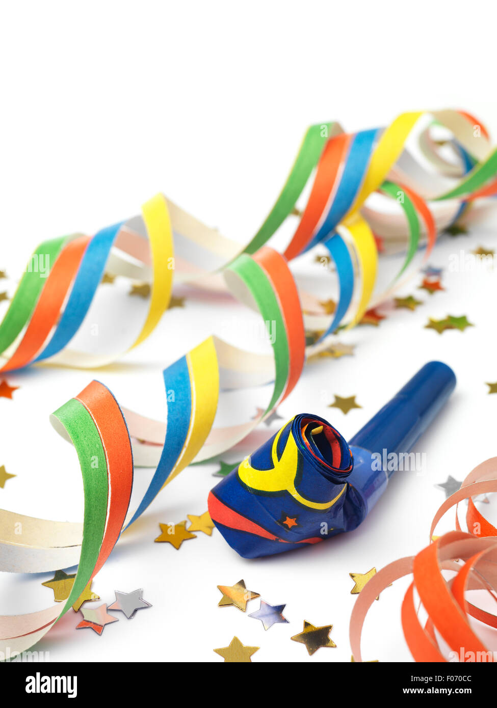 Party Horn Blower with streamers - Stock Image