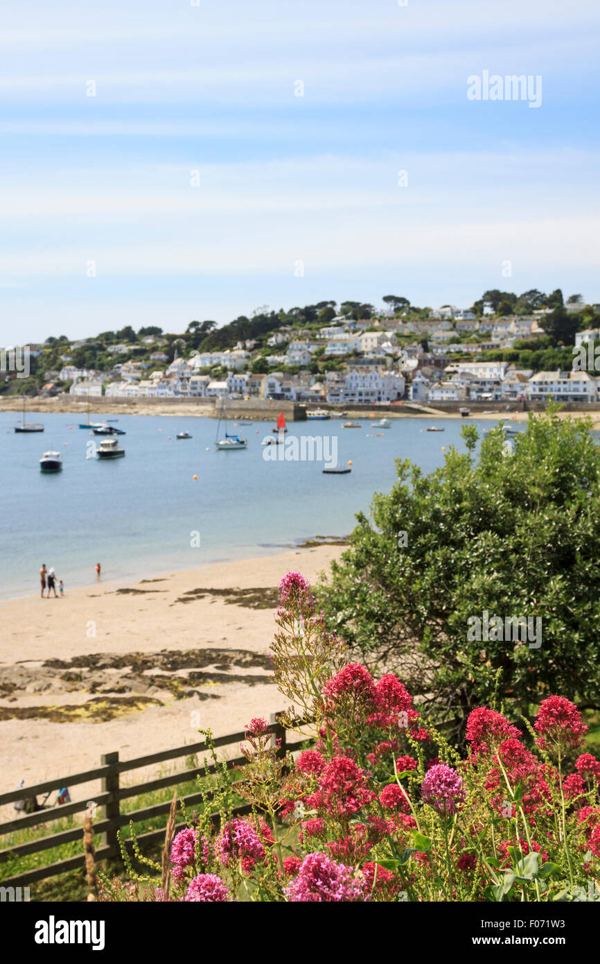 Red flowers above the beach and harbour at St. Mawes, Cornwall, on a hot summer's day Stock Photo