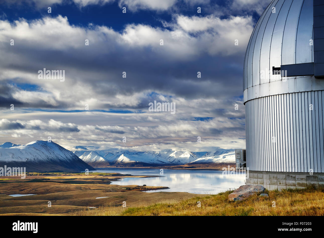 View from Mount John Observatory, Lake Tekapo, Mackenzie Country, New Zealand - Stock Image