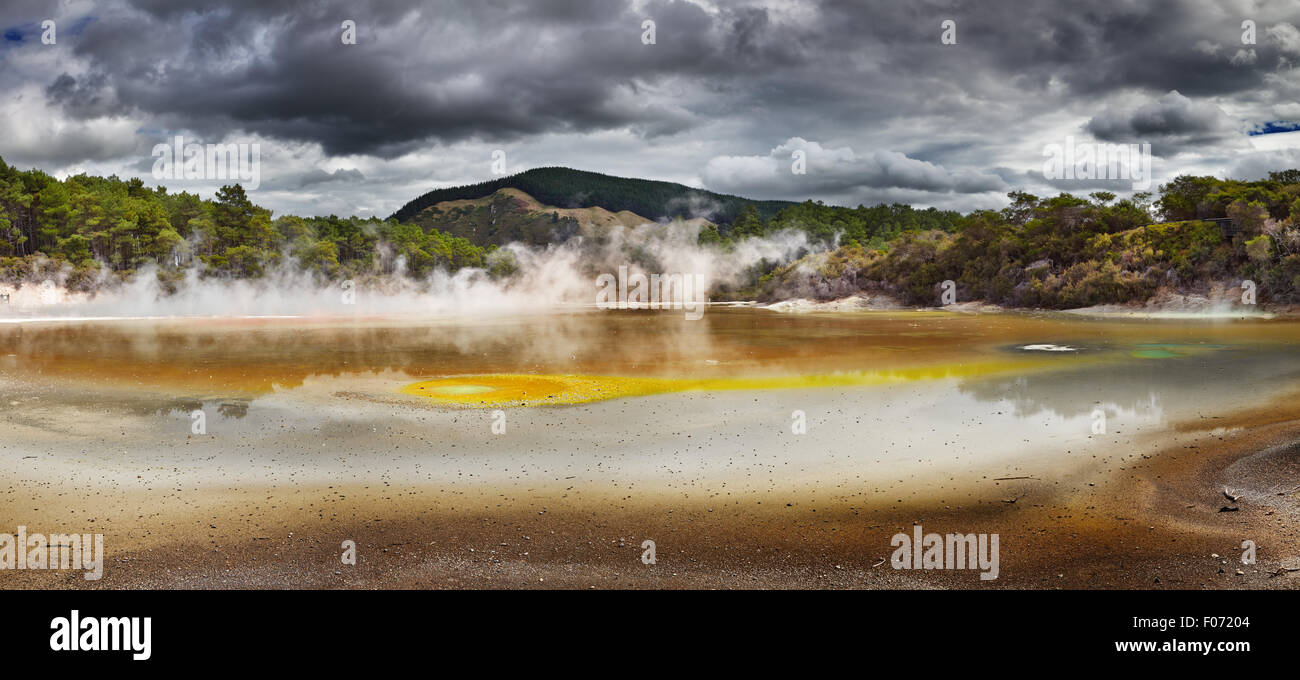 Artist's Palette Pool in Waiotapu Thermal Reserve, Rotorua, New Zealand - Stock Image
