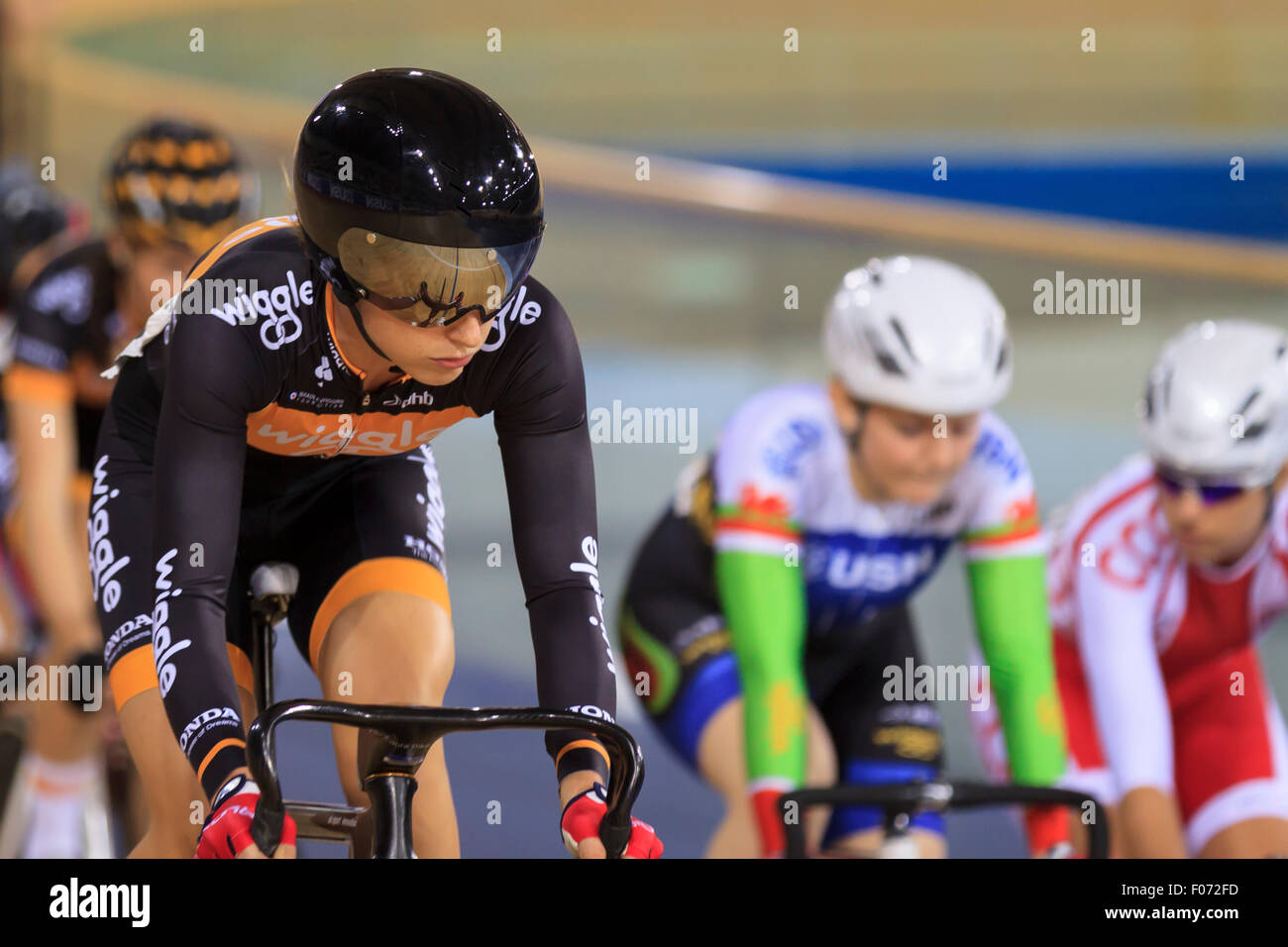Laura Kenny (Laura Trott) won all six disciplines in the Women's Omnium at the Revolution Series 2014-2015, - Stock Image