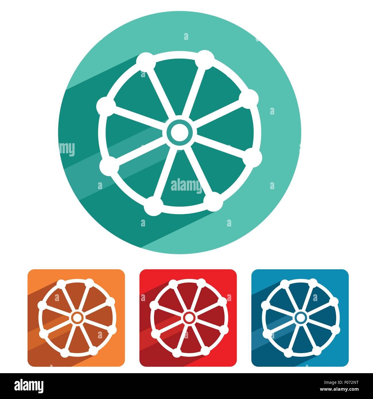 Buddhism symbol icon flat design vector illustration. - Stock Image