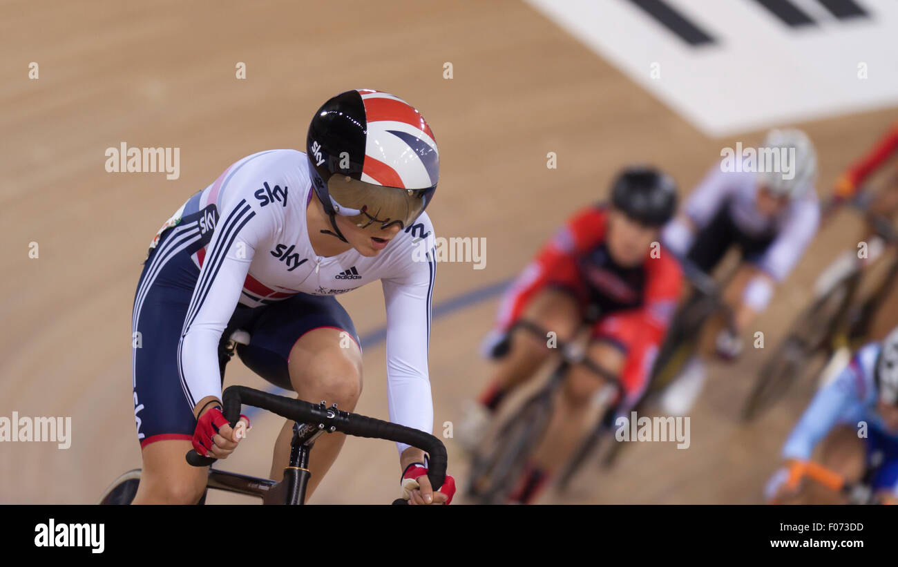 Elinor Barker during the Women s Points Race final at the 2014 UCI Track  Cycling World Cup 8d7dcb83f