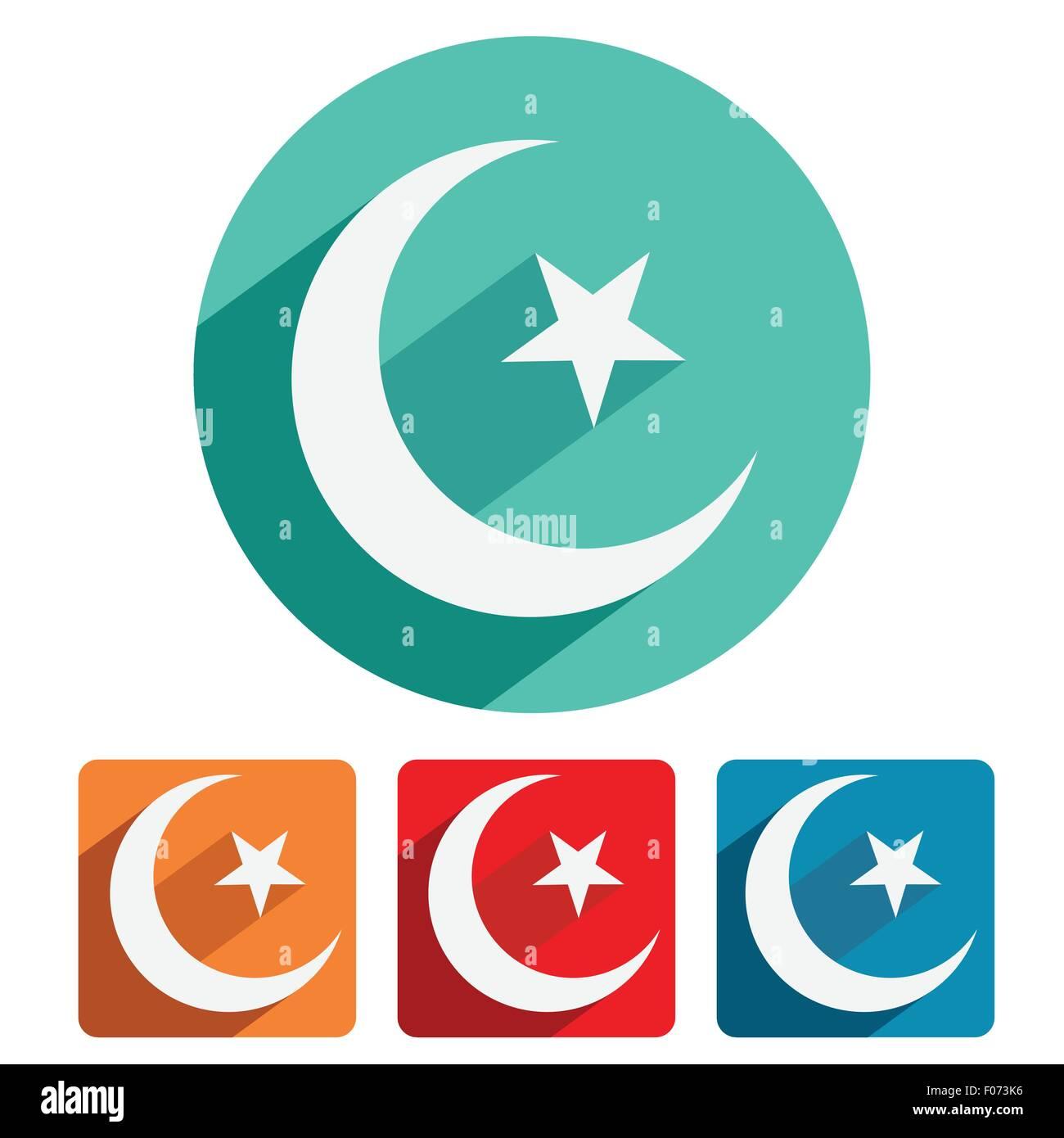 Islam Symbol Icon Flat Design Vector Illustration Stock Vector Art