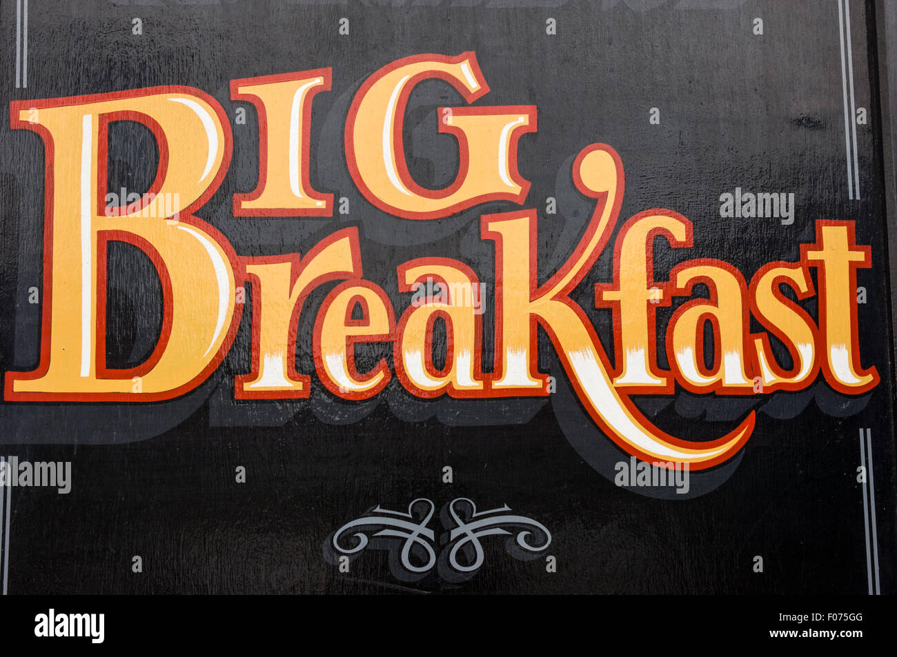 Ireland. Big Breakfast sign gold on black. - Stock Image