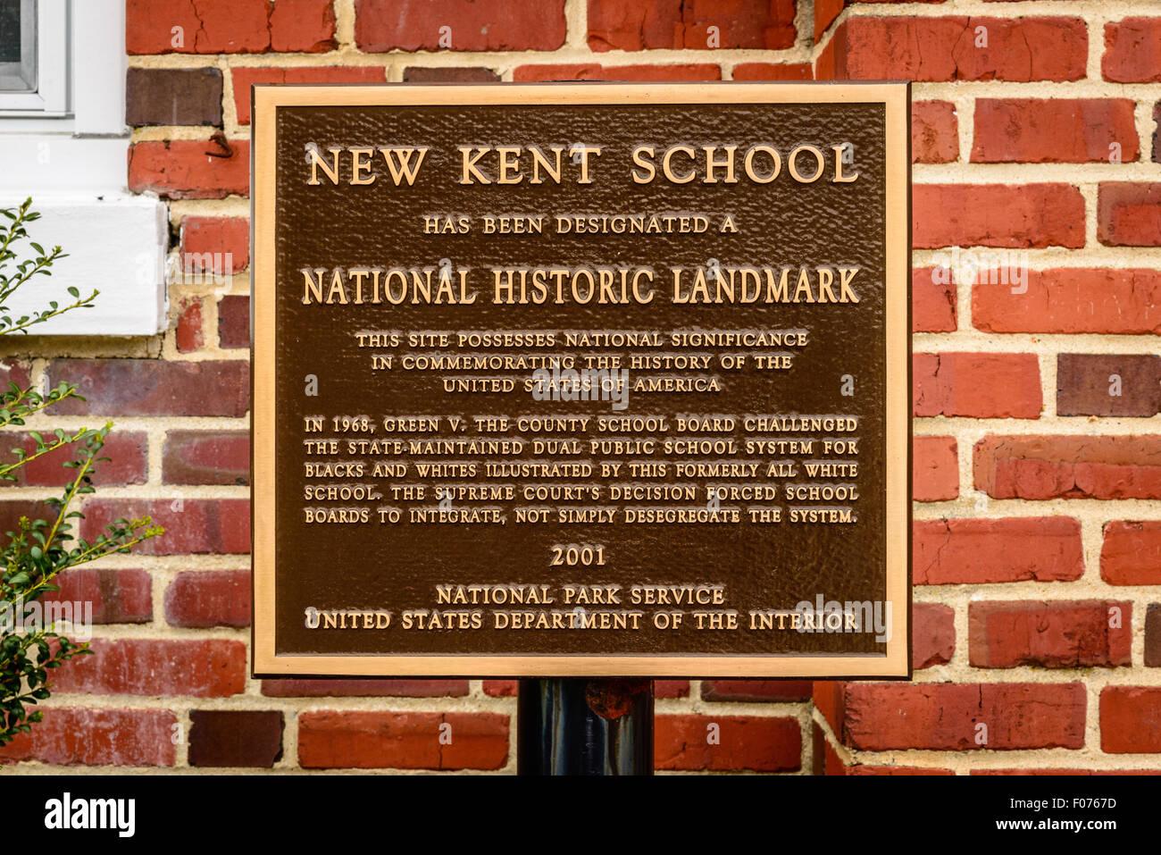 New Kent School, New Kent Highway, New Kent, Virginia - Stock Image