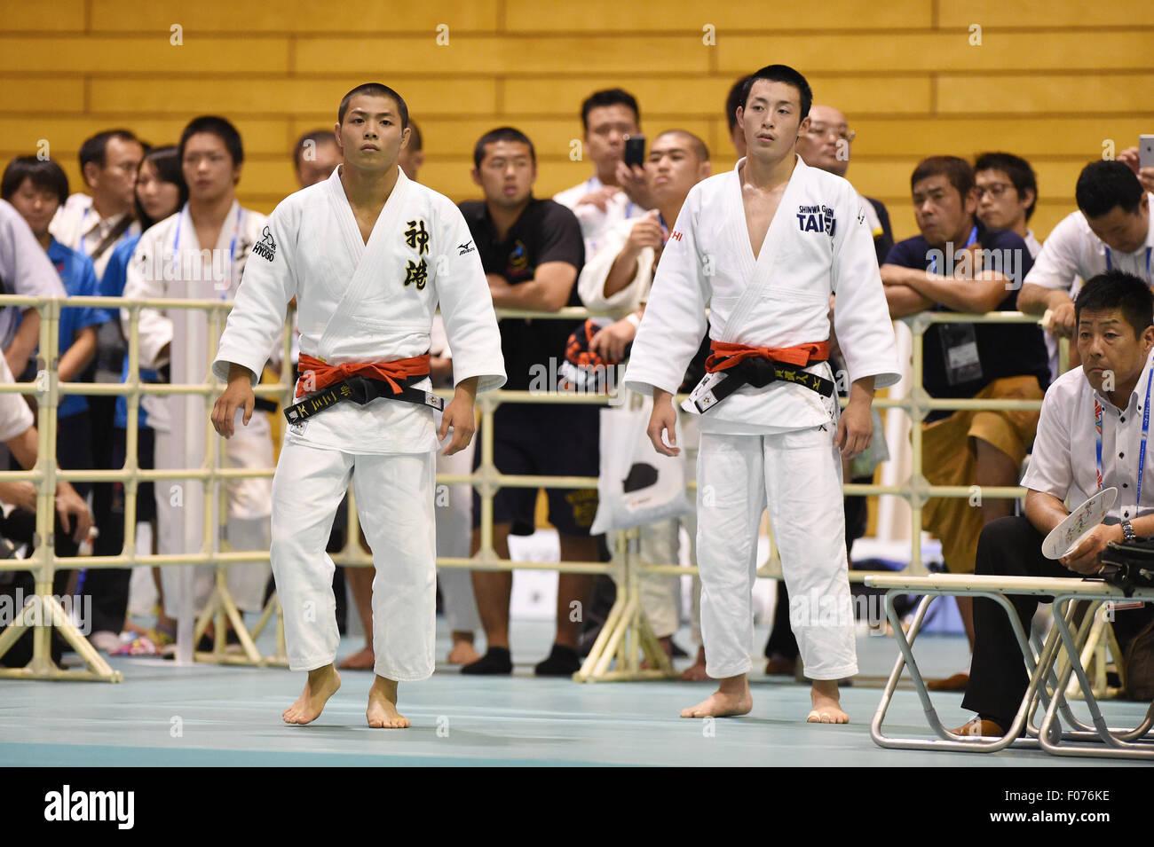 (L-R) Hifumi Abe (), Hayato Koga (),  AUGUST 9, 2015 - Judo :  Inter-Highschool Judo Championships,  Men's -66kg Stock Photo