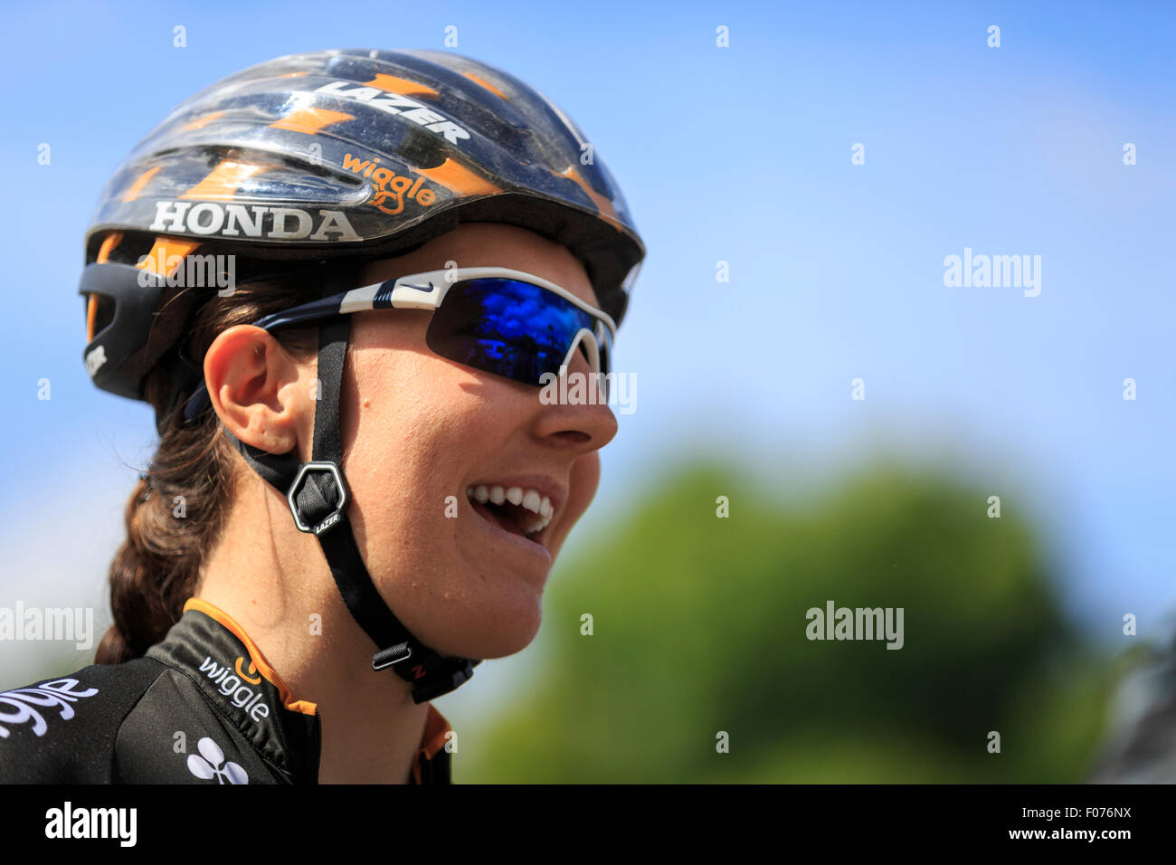 Dani King (Wiggle Honda) laughing before the start of the final stage of the Aviva Women's Tour 2015, Marlow Stock Photo