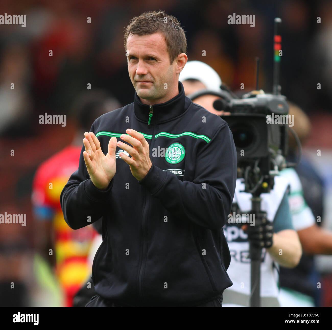 Glasgow, Scotland. 09th Aug, 2015. Ladbrokes Scottish Premiership. Partick Thistle versus Celtic. Ronnie Deila applauding - Stock Image