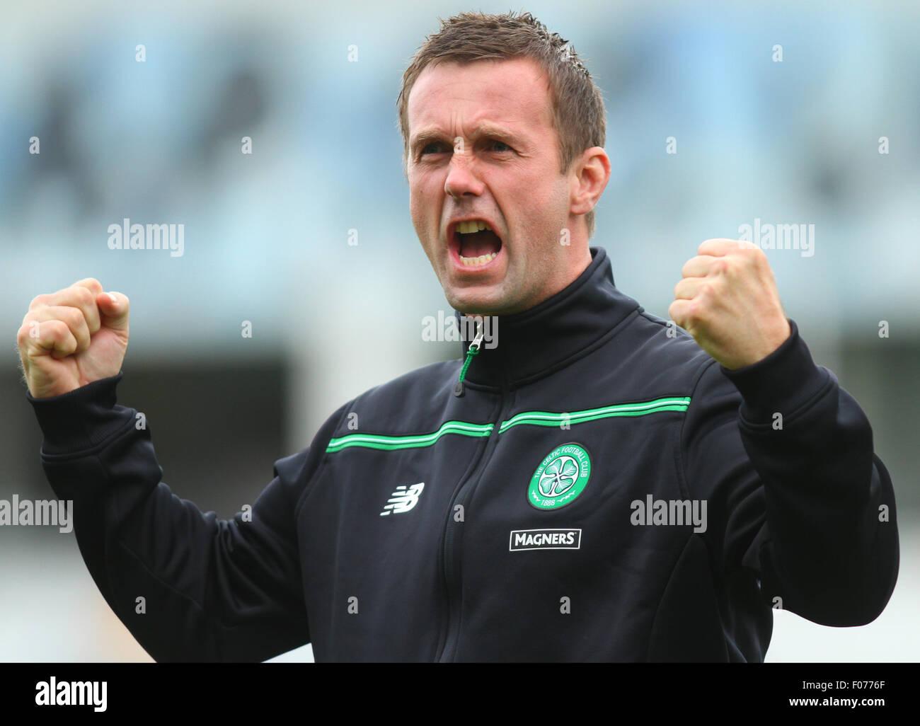 Glasgow, Scotland. 09th Aug, 2015. Ladbrokes Scottish Premiership. Partick Thistle versus Celtic. Ronnie Deila roars - Stock Image