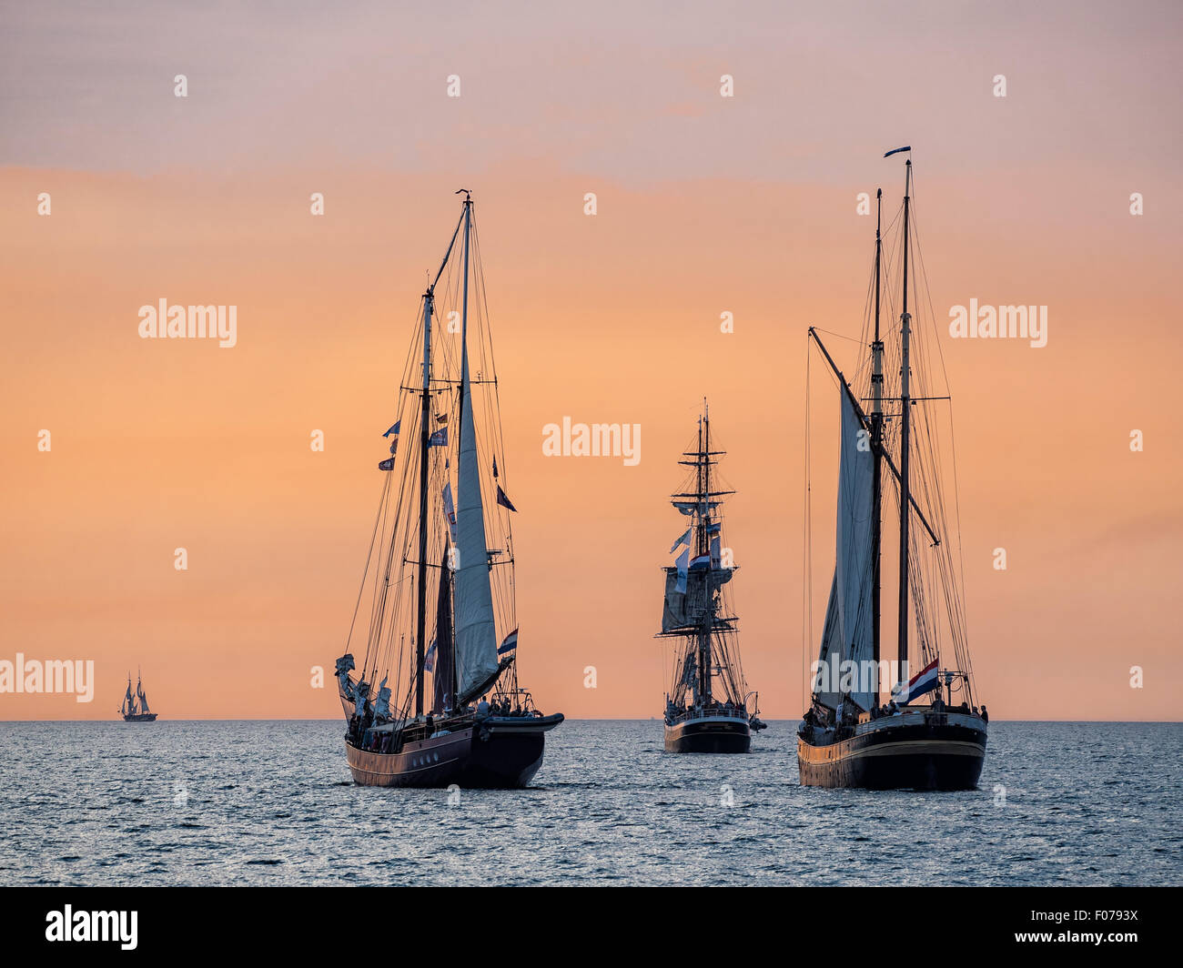 Sailing ships on the Baltic Sea in Rostock (Germany) - Stock Image