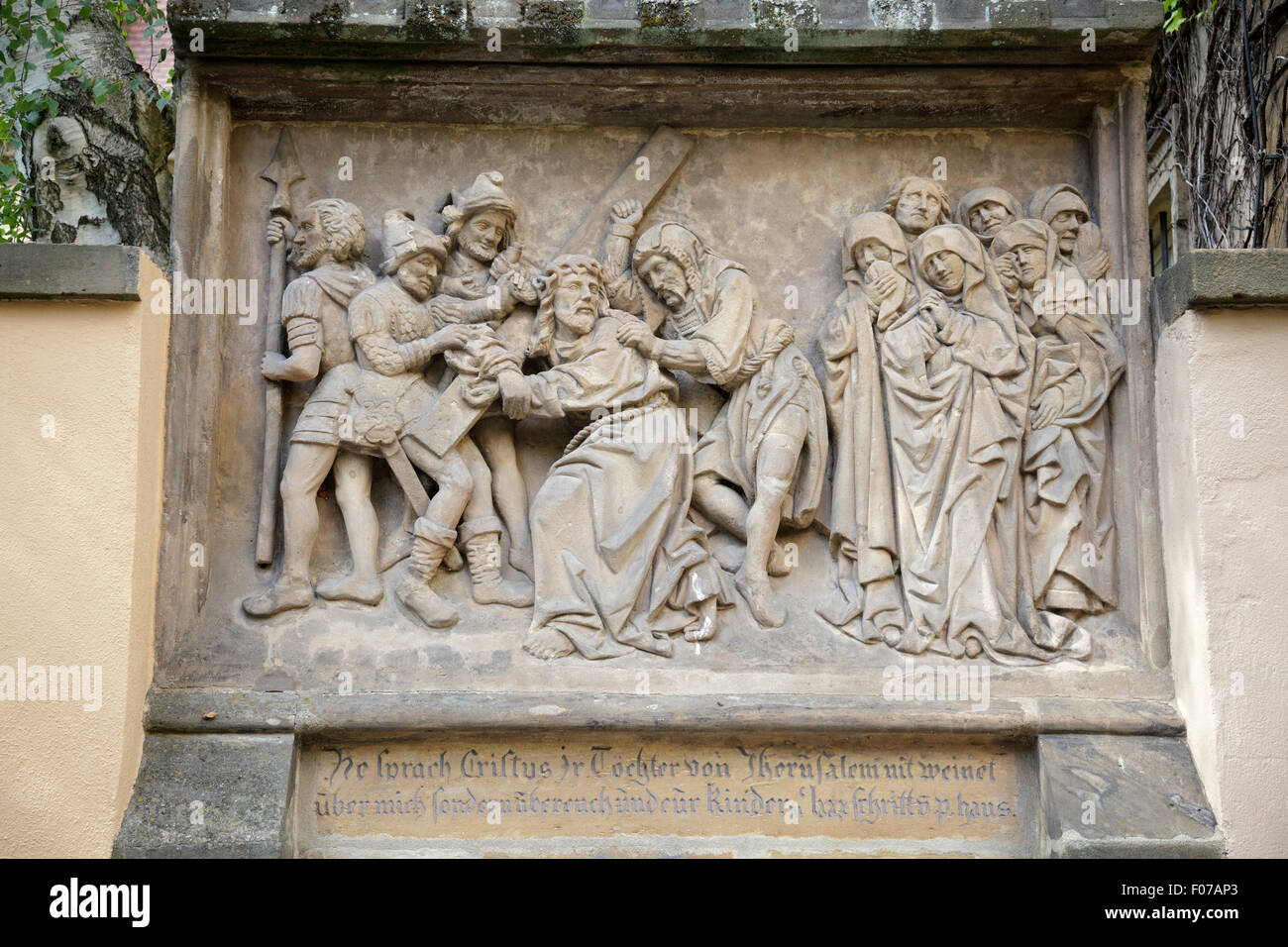 Stations of the Cross, from 1503, Jesus meets the women of Jerusalem, Bamberg, Bavaria, Germany - Stock Image
