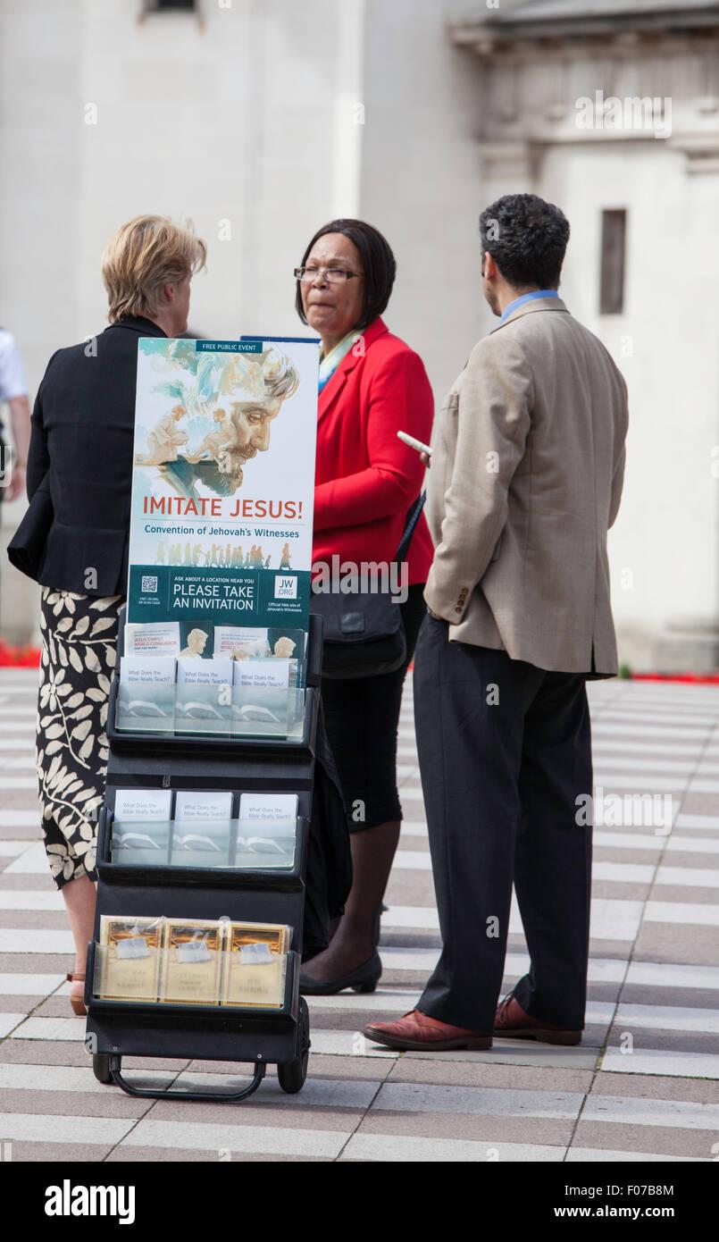 Religious Organisations promoting their beliefs in Birmingham, England, UK - Stock Image