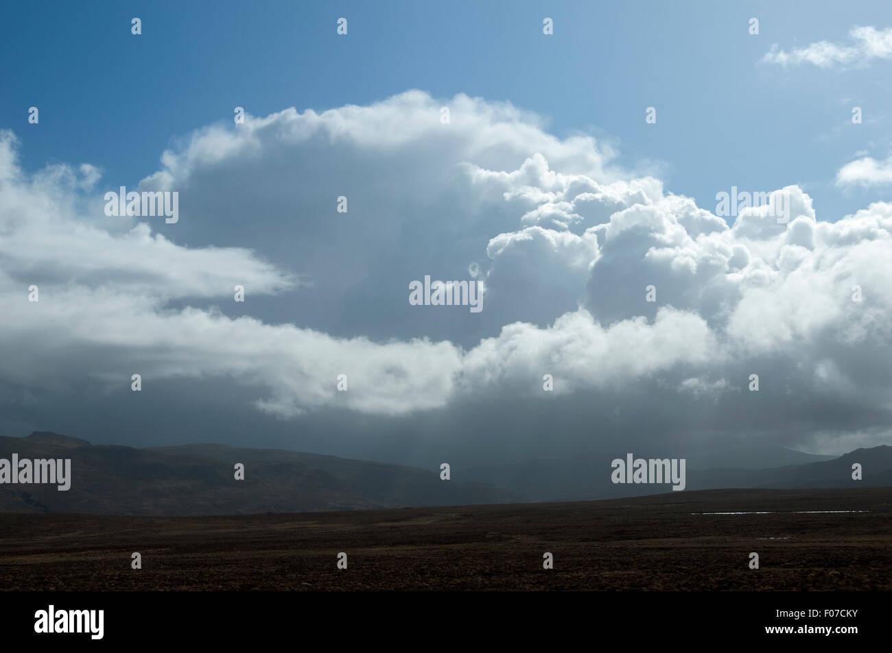 Cumulonimbus shower cloud near Blairmore, Sutherland, Scotland, UK. - Stock Image