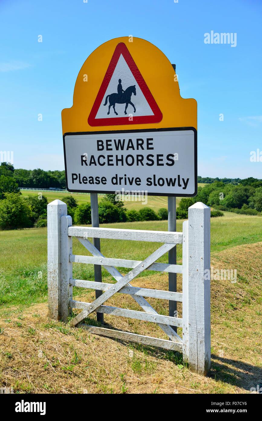 'Beware Racehorses' sign, Langley Vale Road, Epsom Downs, Epsom, Surrey, England, United Kingdom - Stock Image