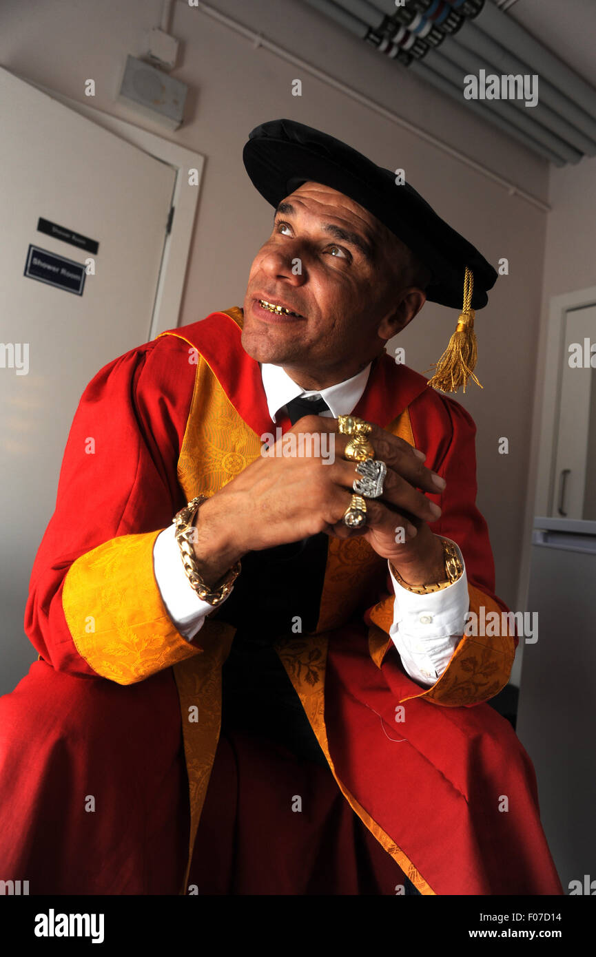 Goldie the artist, musician & actor born Clifford Joseph Price honorary degree at Wolverhampton University - Stock Image