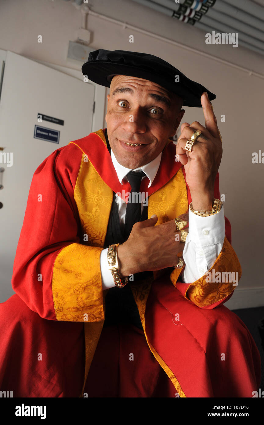 Goldie the artist musician & actor born Clifford Joseph Price honorary degree at Wolverhampton University - Stock Image