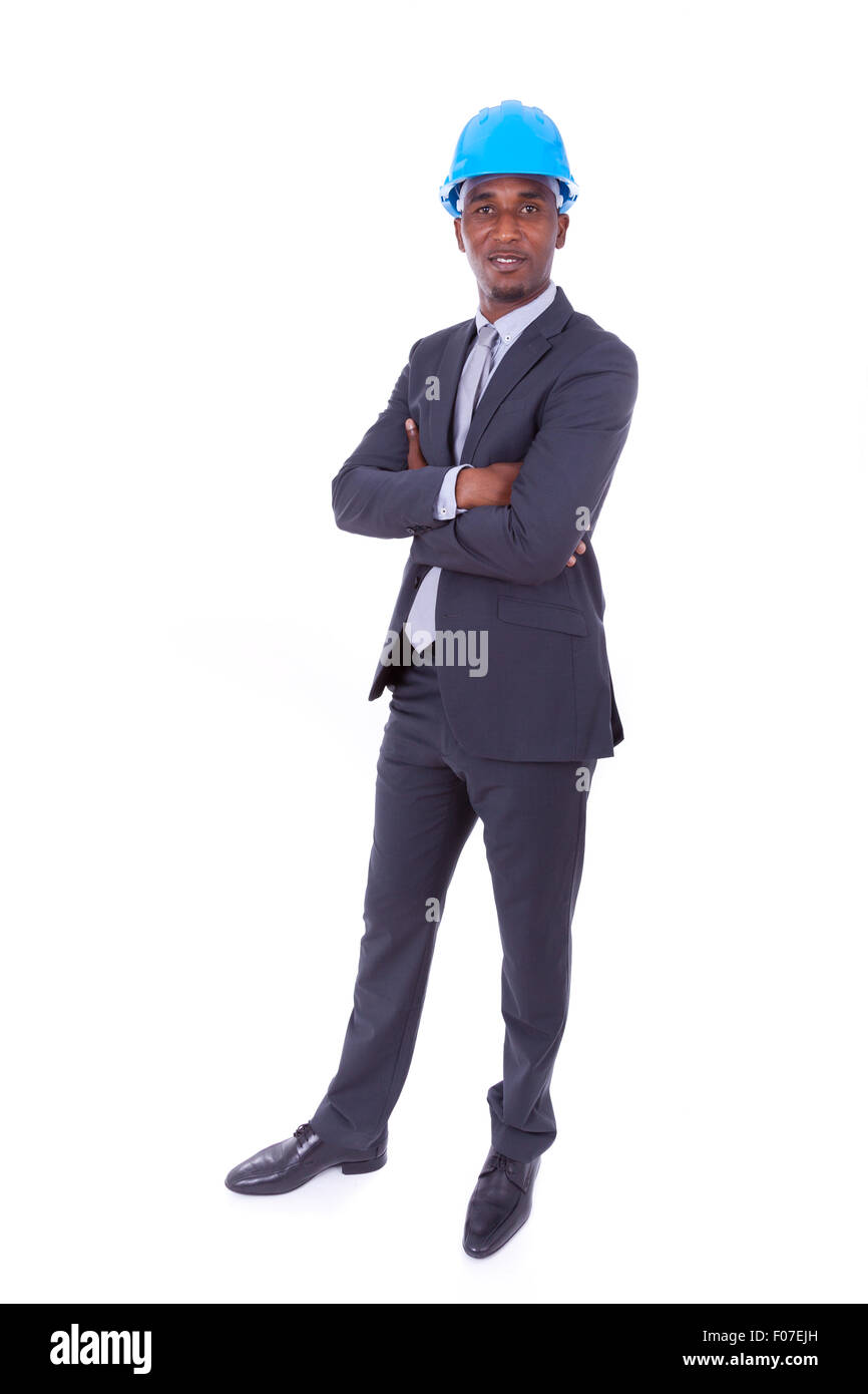 African American architect isolated on white background - black people - Stock Image