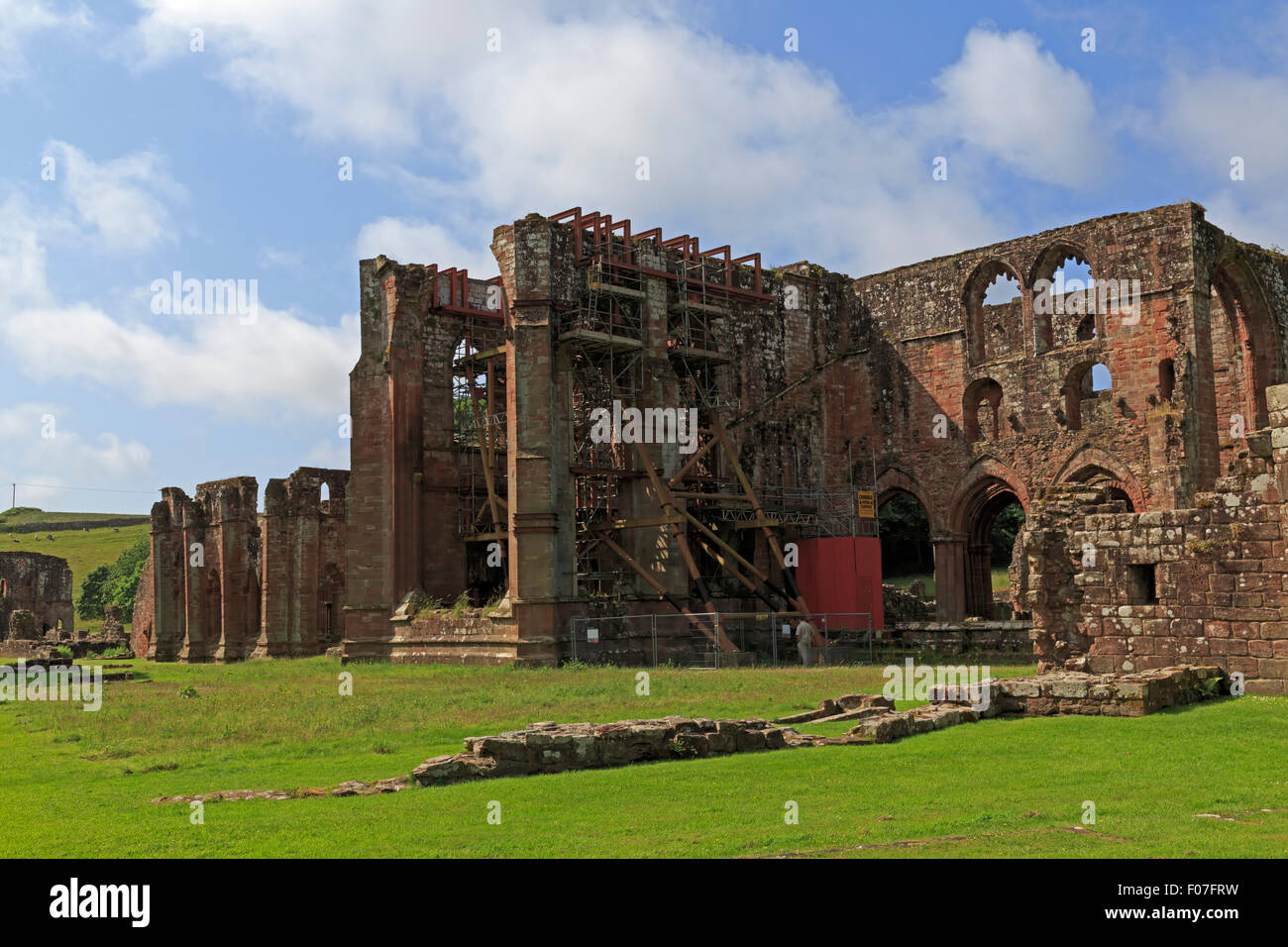 Restoration of the ruins of Furness Abbey, the Church, Cumbria - Stock Image