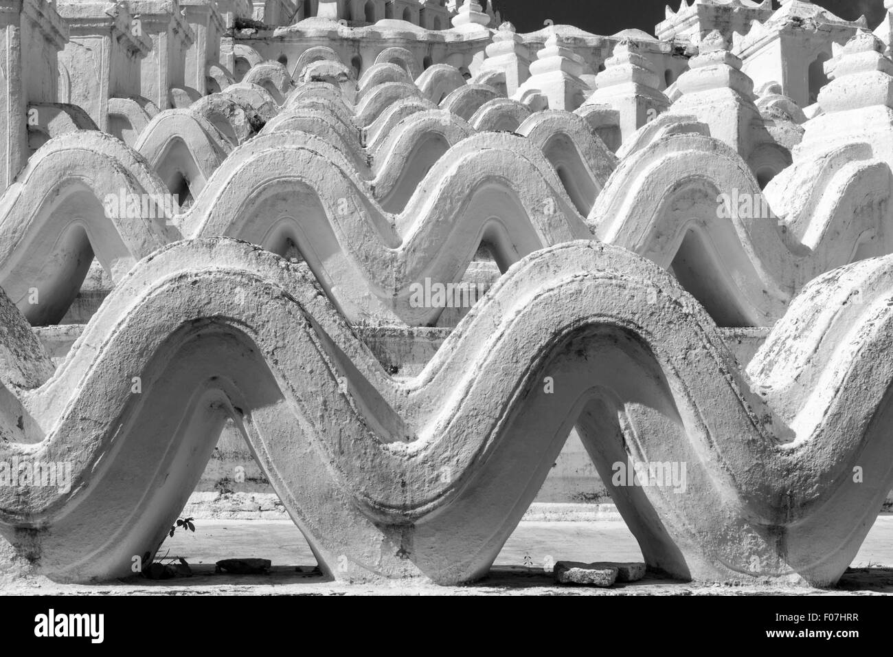 Hsinbyume or Mya Thein Dan temple in Mingun Myanmar. The 7 wavy terraces are said to represent the 7 ranges of Mt.Meru. - Stock Image