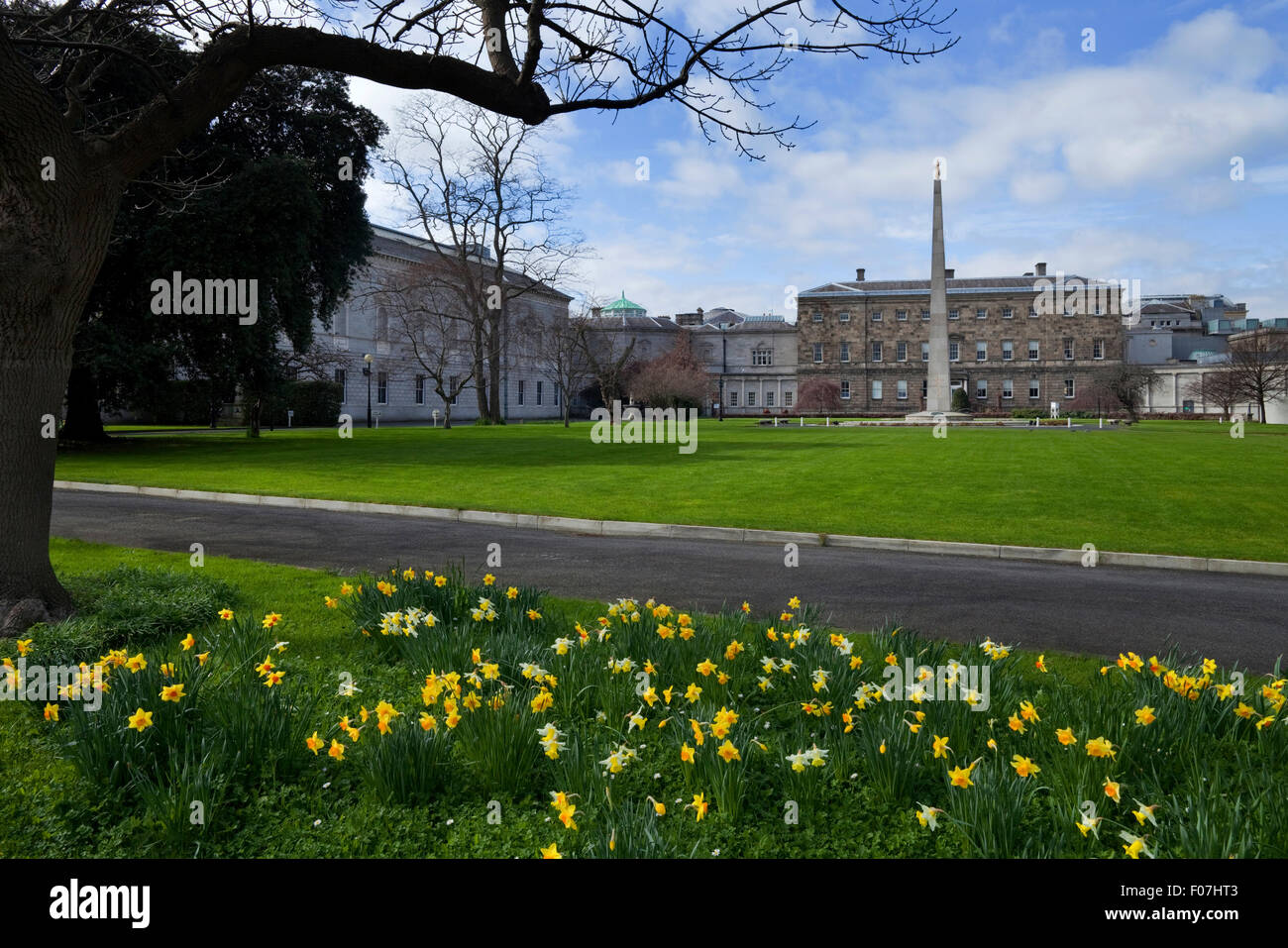 The Gardens, rear of Leinster House 1747, Where the two houses of the Irish parliament meet, Dublin City, Ireland - Stock Image