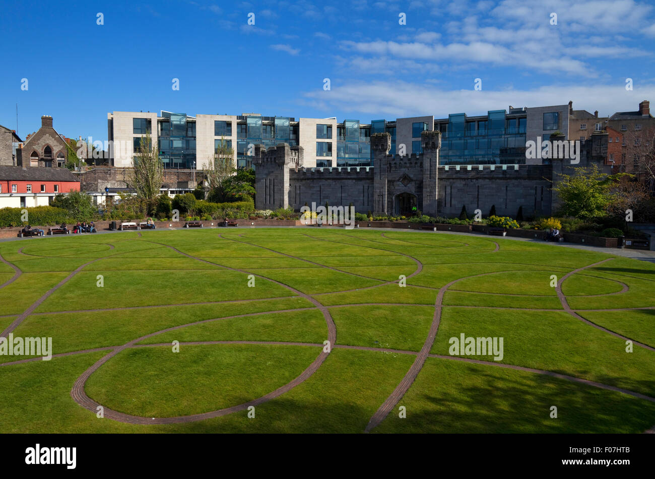 Dubh Linn Gardens Behind Dublin Castle, Dublin City, Ireland Stock Photo