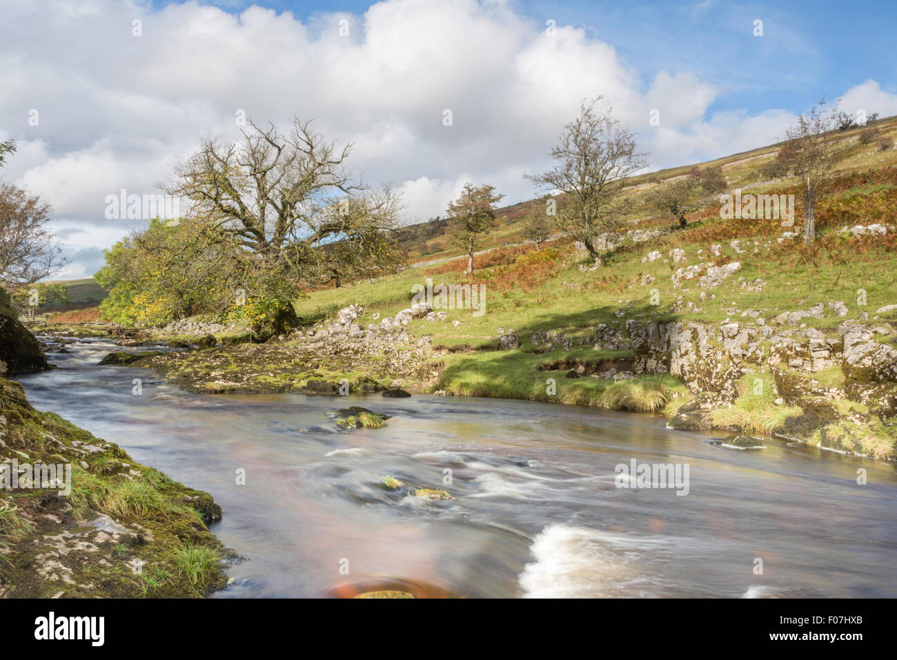 Autumn on the River Wharf, Upper Wharfdale, Yorkshire Dales National Park - Stock Image