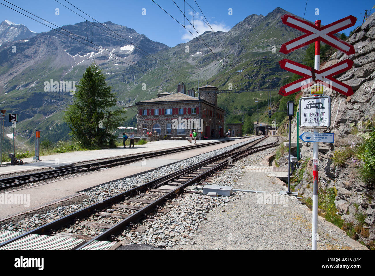 Alp Grum, Switzerland - July 7,2015: Alp Grum railway station is situated on the Bernina Railway, between Pontresina, - Stock Image