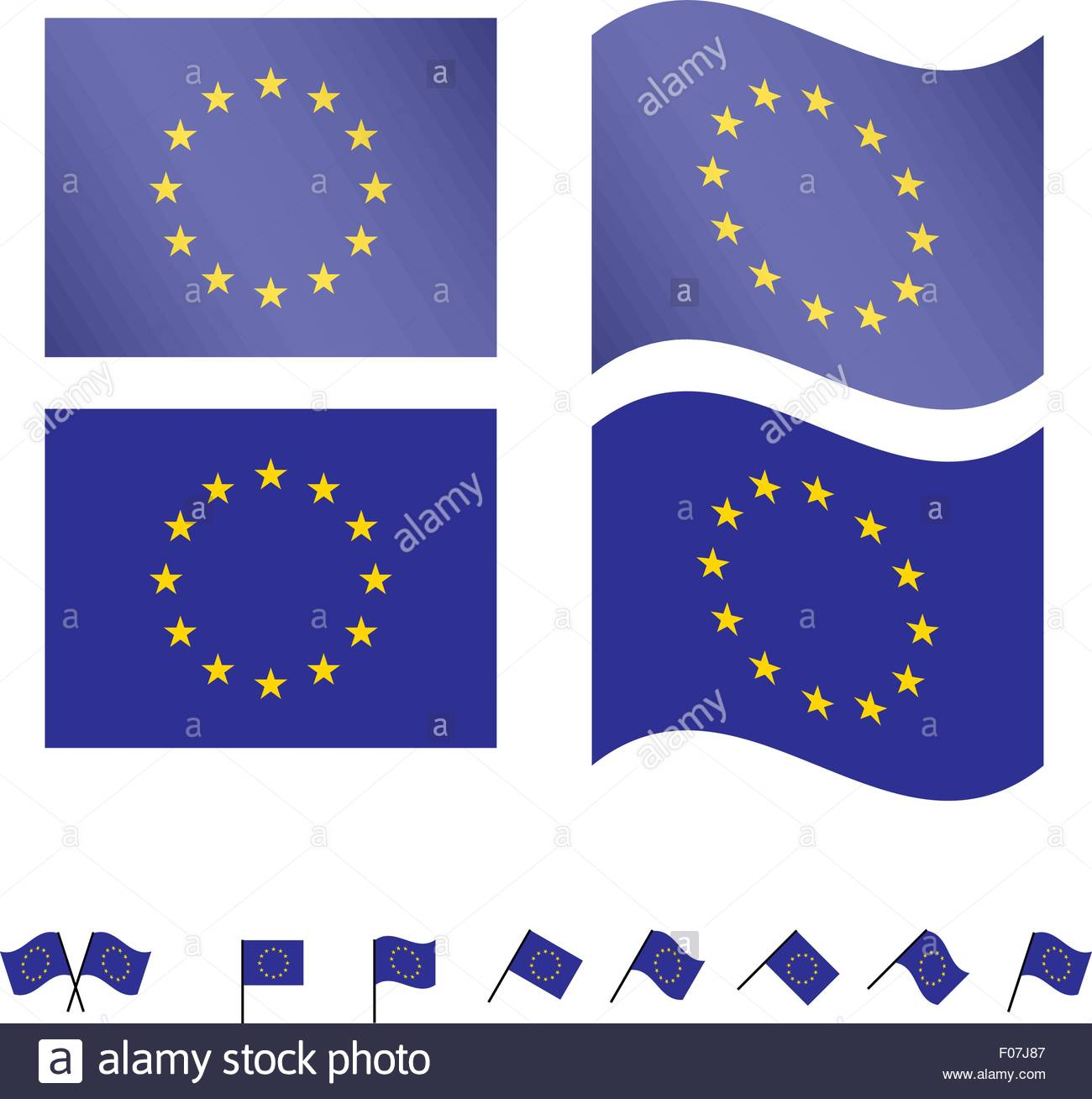 European Union Flags EPS10 - Stock Vector