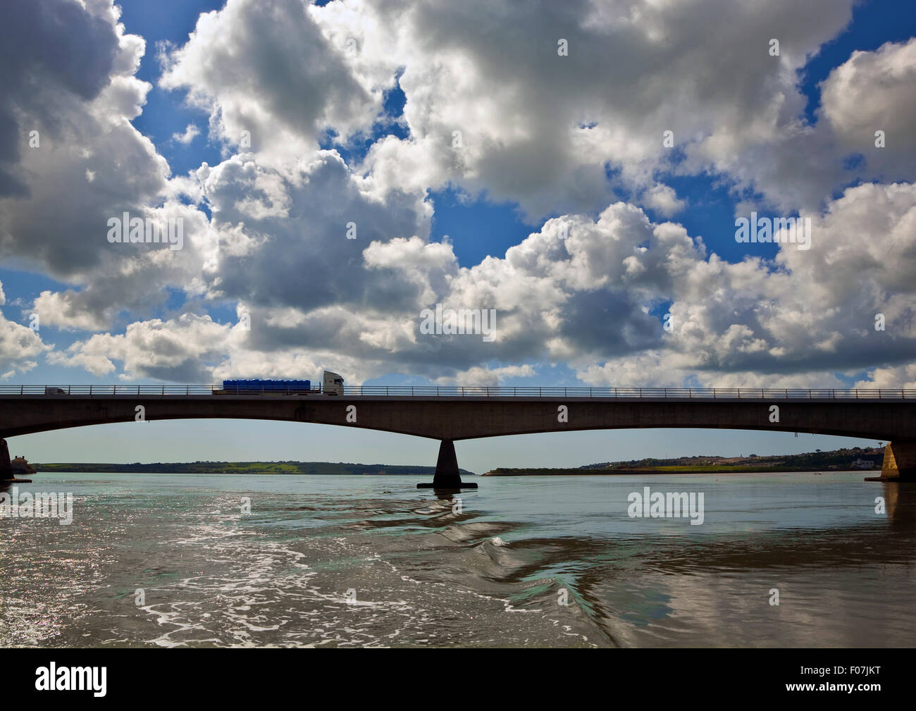Road Bridge Over the Blackwater River, Carrying main Cork - Waterford Traffic, Near Youghal, County Cork, Ireland - Stock Image