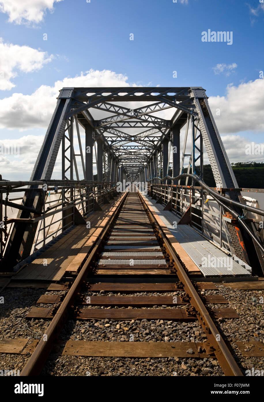 Steel Railway Bridge over the River Barrow to Great Island Power Station, (Longest Bridge in Southern Ireland), - Stock Image