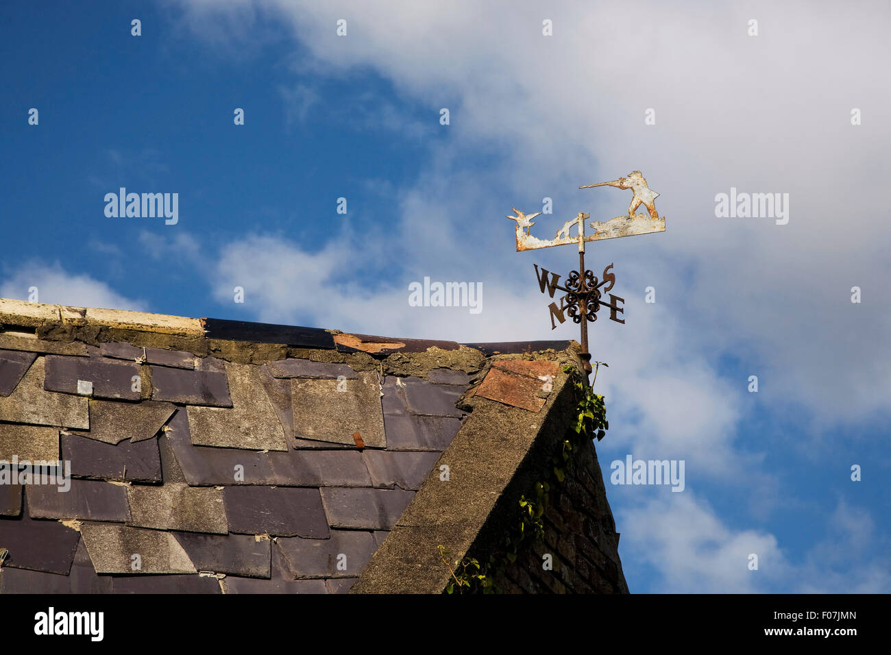 Ornate Weather Vane Depicting a Hunting Scene, Near Newross, County Wexford, Ireland - Stock Image