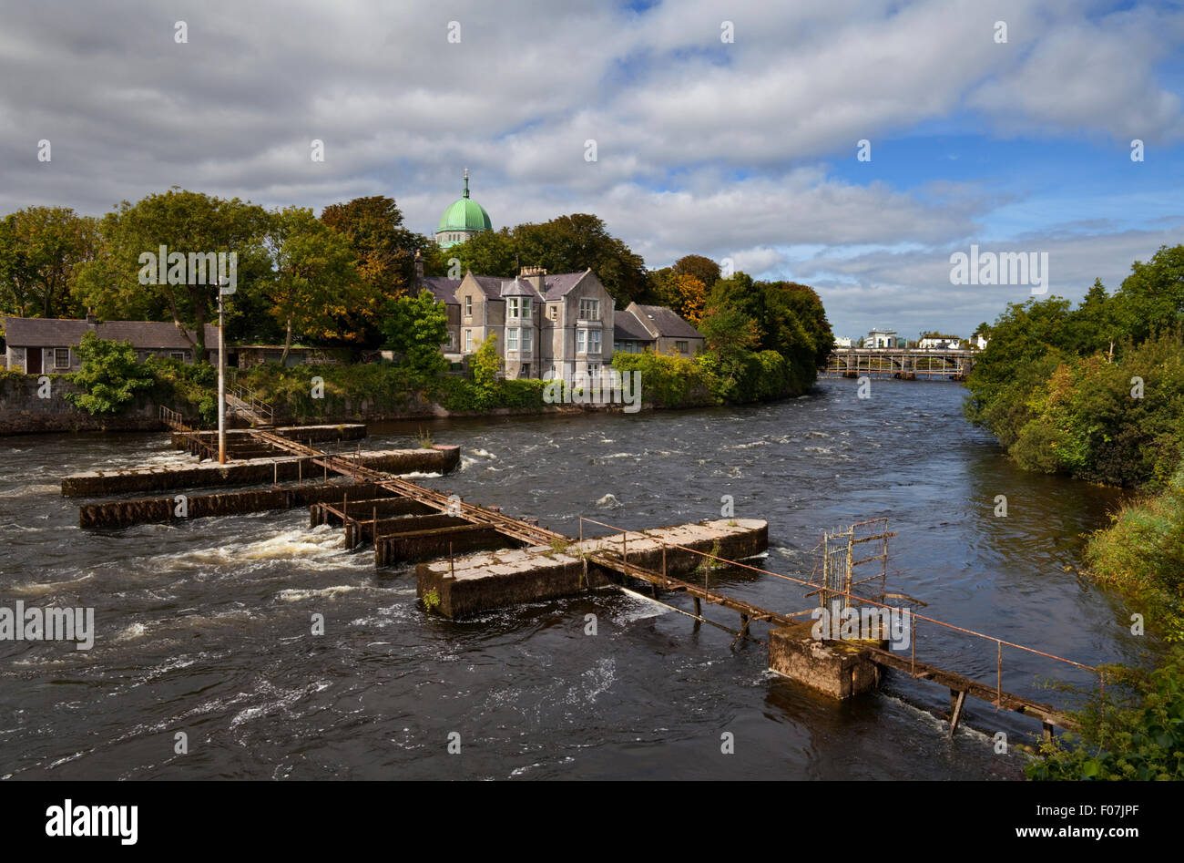 The Salmon Weir on the River Corrib, Galway City, Ireland - Stock Image