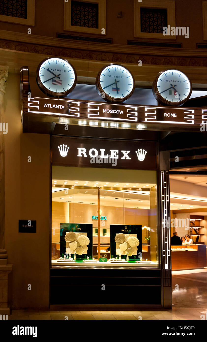 Upscale luxury watch store in the shops of Caesars Palace Las Vegas - Stock Image
