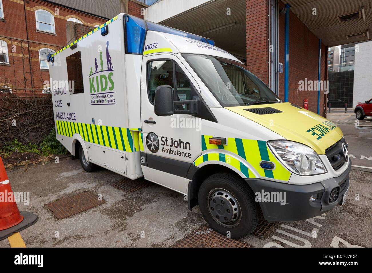 st johns ambulance kids critical care ambulance Birmingham UK - Stock Image