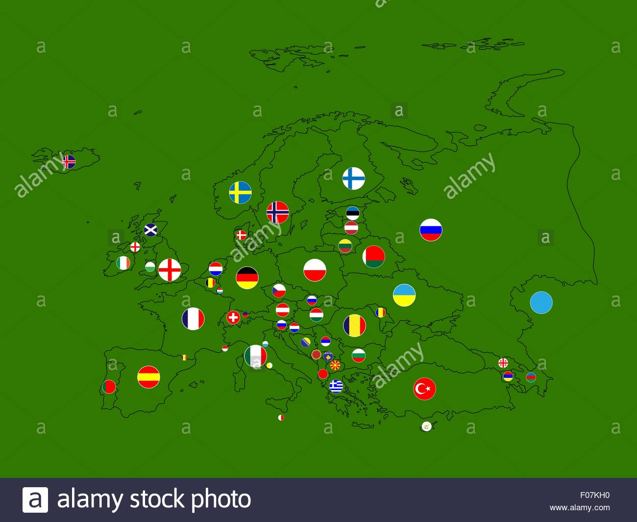 Europe Map Circles - Stock Vector
