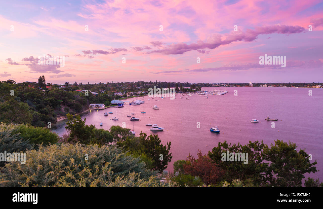 Looking down over Freshwater Bay, Peppermint Grove,  the yacht club and the Swan River at sunset. Western Australia - Stock Image