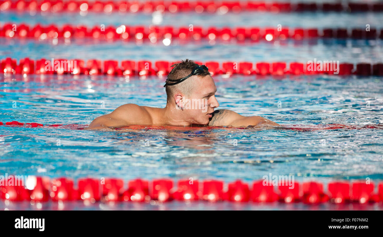 March 12, 2015 - Caleb Dressel is seen after winning the men's 100m freestyle during the Phillips 66 National - Stock Image