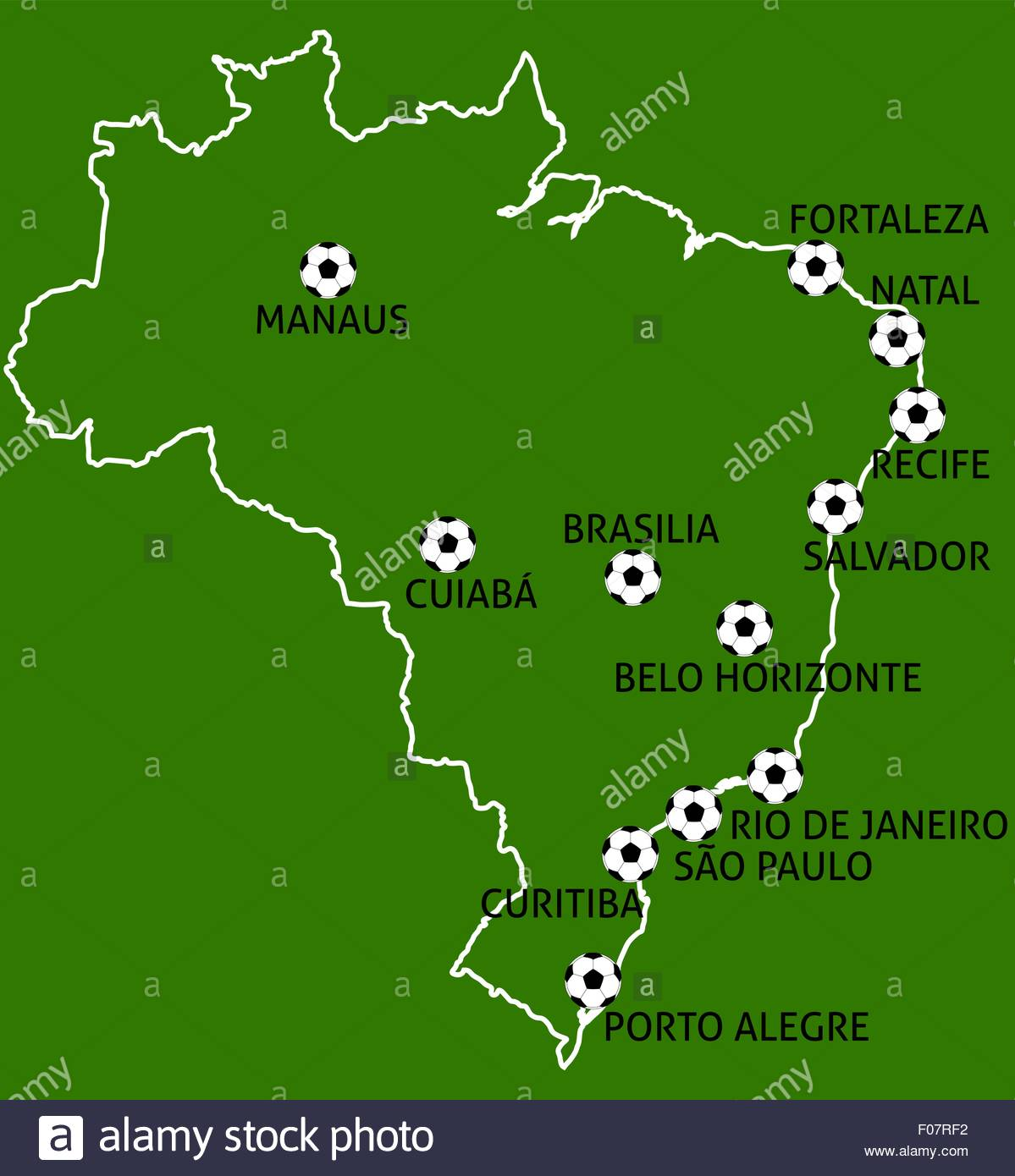 Brazil 2014 football cup cities map balls stock vector art brazil 2014 football cup cities map balls gumiabroncs Image collections