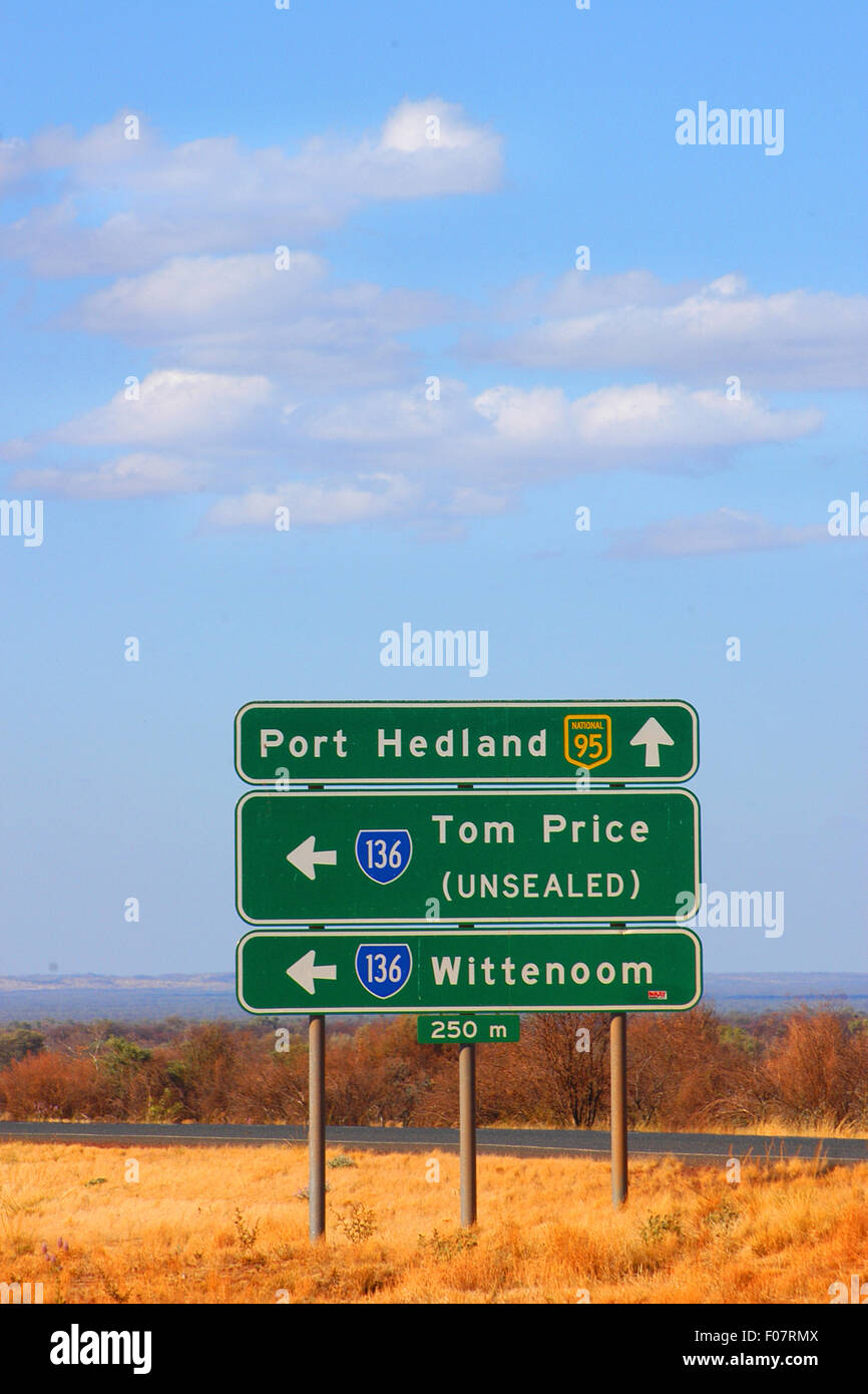 Road sign, Great Northern Highway, Western Australia. Stock Photo