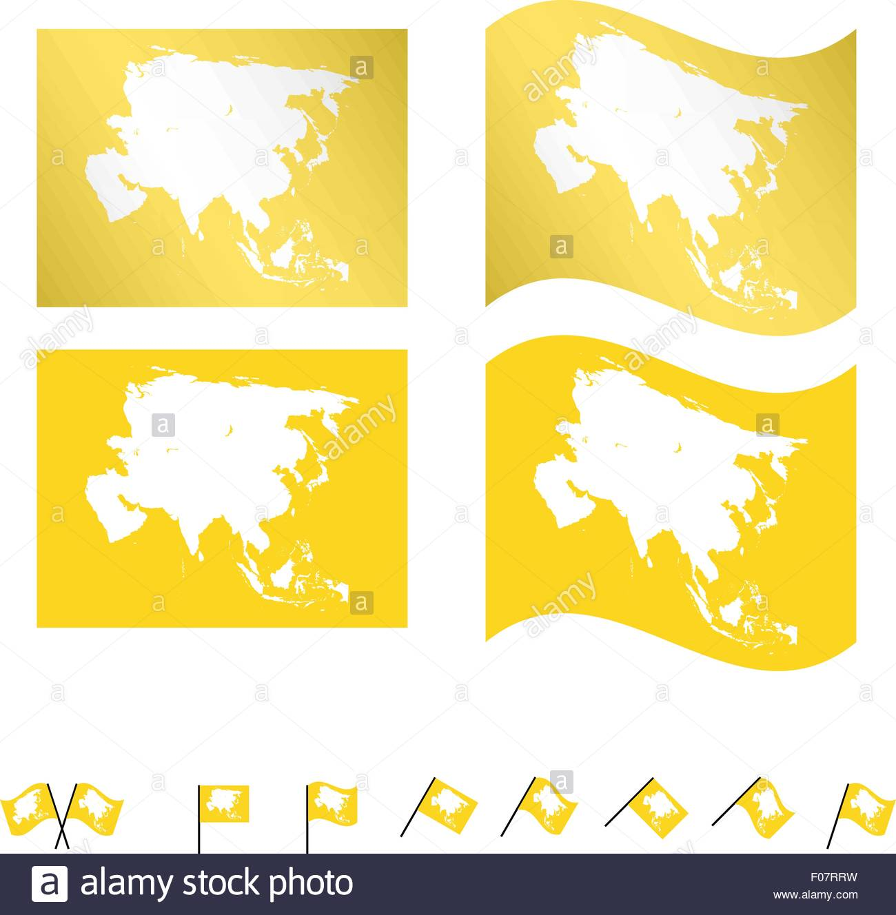 Flags with Asian Map EPS 10 - Stock Image